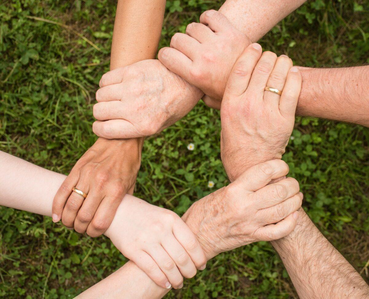 Kuusi ihmistä pitää toisiaan kädestä. Yhteistyö palkokasviketjussa on tärkeää.